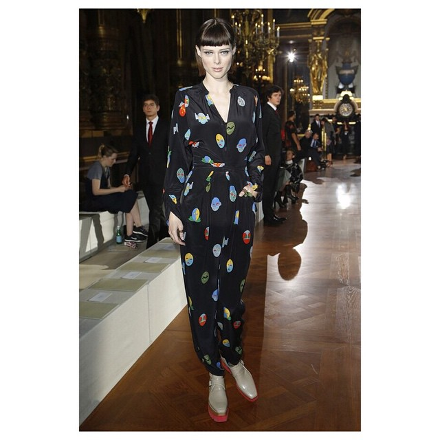 #CocoRocha (@cocorocha) FROW at #StellaMcCartney PFW SS15 earlier today working a jumpsuit ?