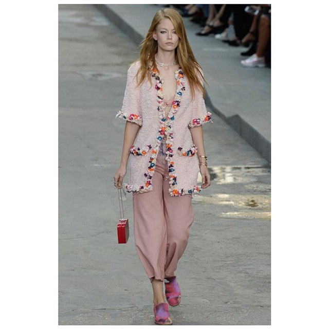 HMS (@holliemaysaker) walked in this morning's #CHANEL riot runway at #PFW SS15 ? #BoulevardChanel