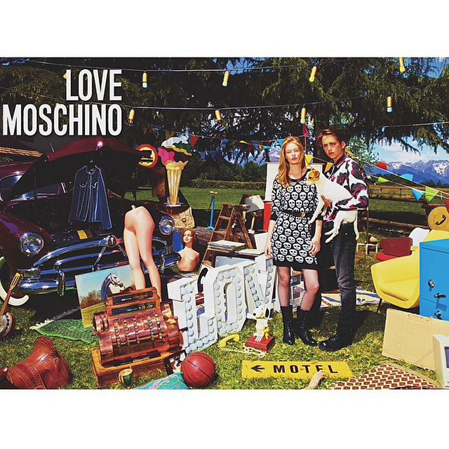 It's love — Gorgeous #HollieMaySaker & her boyfriend @mattsfmills for #LOVEMOSCHINO campaign @ItsJeremyScott ????