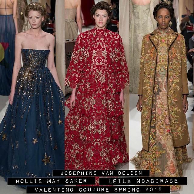 ???Hollie-May Saker, Josephine Van Delden & Leila Ndabirabe for #Valentino Couture Spring 2015!??? @holliemaysaker @josephinevandelden @ndaleila @maisonvalentino #couture #models1